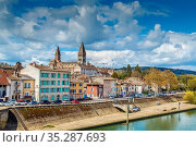 View of Tournus with abbey fron Saone river, France. Стоковое фото, фотограф Zoonar.com/Boris Breytman / easy Fotostock / Фотобанк Лори
