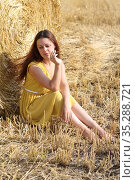 Girl in a white dress in a wheat field. Стоковое фото, фотограф Марина Володько / Фотобанк Лори