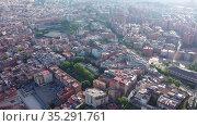 Aerial view of Santa Coloma de Gramenet with a apartment buildings and Besos river, Spain. Стоковое видео, видеограф Яков Филимонов / Фотобанк Лори