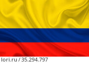 Colombia country flag on wavy silk fabric background panorama - illustration... Стоковое фото, фотограф Zoonar.com/Evgeny Babaylov / easy Fotostock / Фотобанк Лори