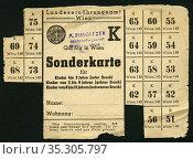Europa, Österreich, Wien, Zeit nach dem 2. Weltkrieg ? , Sonderkarte... Редакционное фото, фотограф Historisches Auge Ralf Feltz / age Fotostock / Фотобанк Лори