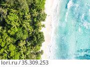 Seychelles Takamaka beach sea waves vacation ocean drone view aerial... Стоковое фото, фотограф Markus Mainka / easy Fotostock / Фотобанк Лори