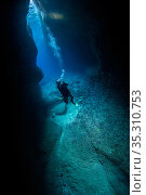 Diver in the Catherdral, a famous underwater cavern, Green Island, Taiwan. Стоковое фото, фотограф Magnus Lundgren / Wild Wonders of China / Nature Picture Library / Фотобанк Лори