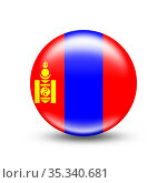 Mongolia country flag in sphere with white shadow - illustration. Стоковое фото, фотограф Zoonar.com/Evgeny Babaylov / easy Fotostock / Фотобанк Лори