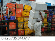Yangon, Myanmar, worker carrying styrofoam cooling boxes at the traditional Baho San Pya fish market (2014 год). Редакционное фото, агентство Caro Photoagency / Фотобанк Лори