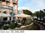 Croatia, Opatija - Hotel-restaurant in the seaside resort on the Kvarner bay with moonlike Austrian-Hungarian past (2016 год). Редакционное фото, агентство Caro Photoagency / Фотобанк Лори