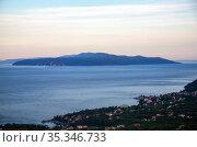 Croatia, Opatija - seaside resort on the Kvarner Bay with moons Austrian-Hungarian past, view towards the island of Cres (2016 год). Редакционное фото, агентство Caro Photoagency / Фотобанк Лори
