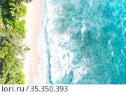 Seychelles aerial photo Takamaka beach Mahe copyspace nature vacation... Стоковое фото, фотограф Markus Mainka / easy Fotostock / Фотобанк Лори