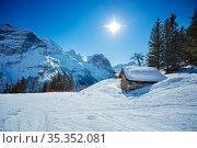 Small covered with snow house near ski trails. Стоковое фото, фотограф Сергей Новиков / Фотобанк Лори