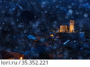 Snowfall in Champagny-en-Vanoise village church (2020 год). Стоковое фото, фотограф Сергей Новиков / Фотобанк Лори