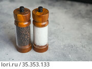 Wooden Salt And Pepper grinder Set. Стоковое фото, фотограф Nataliia Zhekova / Фотобанк Лори