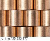 Copper alloy texture. Sleeve bronze bearings. Стоковое фото, фотограф EugeneSergeev / Фотобанк Лори