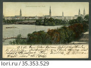 Europa, Deutschland, Hamburg, Blick auf die Lombartsbrücke und Alster... Редакционное фото, фотограф Historisches Auge Ralf Feltz / age Fotostock / Фотобанк Лори