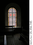 Stained glass. Church of Saint-Gervais and Protais. Saint-Gervais... Стоковое фото, фотограф Catherine Leblanc / easy Fotostock / Фотобанк Лори