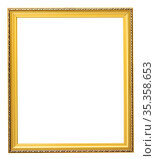 rectangular golden frame for photo on isolated background. Стоковое фото, фотограф Татьяна Яцевич / Фотобанк Лори