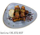 Top view of breaded eggplant or aubergine seasoned with cane honey. Стоковое фото, фотограф Яков Филимонов / Фотобанк Лори