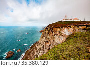 A view of the Atlantic Ocean and lighthouse from Cape Rock. Стоковое фото, фотограф Zoonar.com/EVGENII ZINOVEV / easy Fotostock / Фотобанк Лори