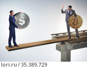 Interdependency concept with two currencies. Стоковое фото, фотограф Elnur / Фотобанк Лори