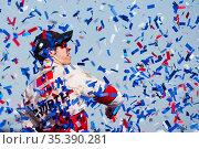 Fontana, CA - Mar 22, 2015: Brad Keselowski (2) wins the Auto Club... Стоковое фото, фотограф Zoonar.com/Walter G Arce Sr ASP Inc / age Fotostock / Фотобанк Лори