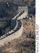 Tourists on the Great Wall of China at Huangya Pass. China. Стоковое фото, фотограф Andre Maslennikov / age Fotostock / Фотобанк Лори