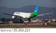 LEVEL Airbus approaching to runway at El Prat Airport in Barcelona (2020 год). Редакционное фото, фотограф Яков Филимонов / Фотобанк Лори