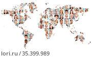 Portrait Collage mit Geschäftsleuten auf Weltkarte als Business Team... Стоковое фото, фотограф Zoonar.com/Robert Kneschke / age Fotostock / Фотобанк Лори