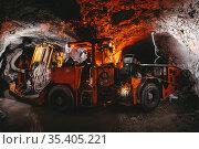 gold mining tunnel equipment bore drilling mine. Стоковое фото, фотограф Mark Agnor / Фотобанк Лори
