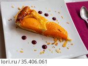 Piece of peach pie. Peach omelet. Стоковое фото, фотограф Яков Филимонов / Фотобанк Лори