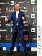 Sanremo Festival host and artistic director, Amadeus, poses for photographers... Редакционное фото, фотограф Maria Laura Antonelli / AGF/Maria Laura Antonelli / age Fotostock / Фотобанк Лори