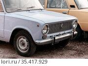 Saratov, Russia - 10.24.2020: Old Soviet vintage retro car Lada Zhiguli Russian VAZ-2101 kopeck made in the USSR. Редакционное фото, фотограф Светлана Евграфова / Фотобанк Лори