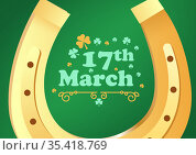 Lucky horseshoe with 17th march text with clover on green background. Стоковое фото, агентство Wavebreak Media / Фотобанк Лори