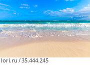 Coastal Caribbean Sea landscape, empty beach (2020 год). Стоковое фото, фотограф EugeneSergeev / Фотобанк Лори