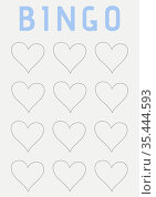 Bingo text with illustration of rows of hearts on white background. Стоковое фото, агентство Wavebreak Media / Фотобанк Лори