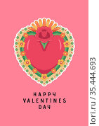 Happy valentine's day text with heart and flowers on pink background. Стоковое фото, агентство Wavebreak Media / Фотобанк Лори