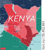 Kenya country detailed editable map. Стоковая иллюстрация, иллюстратор Jan Jack Russo Media / Фотобанк Лори