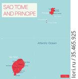 Sao Tome and Principe detailed editable map. Стоковая иллюстрация, иллюстратор Jan Jack Russo Media / Фотобанк Лори
