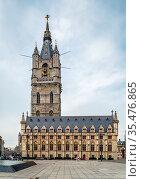 The 91-metre tall belfry of Ghent is tallest belfry in Belgium. Стоковое фото, фотограф Zoonar.com/Boris Breytman / easy Fotostock / Фотобанк Лори