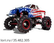 Vector Cartoon Monster Truck isolated on white background. Стоковая иллюстрация, иллюстратор Александр Володин / Фотобанк Лори