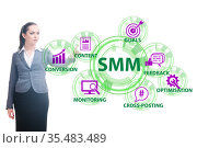 Businesswoman pressing button in SMM concept. Стоковое фото, фотограф Elnur / Фотобанк Лори