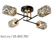 Gold-black four-lamp ceiling lamp with rectangular matt shades with black floral ornaments. Isolated on white background. Стоковое фото, фотограф Вадим Орлов / Фотобанк Лори