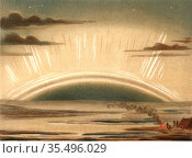 Aurora Borealis or Northern Lights observed from the Isle of Sky 1874. Редакционное фото, агентство World History Archive / Фотобанк Лори
