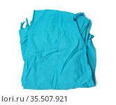 Blue fashionable cotton scarf folded and isolated on white background... Стоковое фото, фотограф Zoonar.com/Danko Natalya / easy Fotostock / Фотобанк Лори