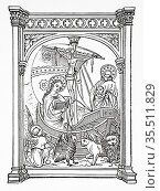 Mystical Ship of the Latin Church. Moralized Bible (Bible moralisée... Редакционное фото, фотограф Jerónimo Alba / age Fotostock / Фотобанк Лори