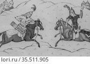 Cavaliers combatants, persia by louis dubeux, editor firmin didot... (2009 год). Редакционное фото, фотограф Louis Bertrand / age Fotostock / Фотобанк Лори