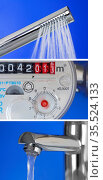 Vertical collage of water consumption. Стоковое фото, фотограф Zoonar.com/DesignIt / easy Fotostock / Фотобанк Лори
