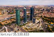 Four business skyscrapers of the business district in Madrid, Spain. Стоковое фото, фотограф Яков Филимонов / Фотобанк Лори