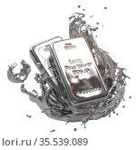 Silver bar or bullion ingot in liquid silver metal splash isolated on white. Стоковое фото, фотограф Maksym Yemelyanov / Фотобанк Лори