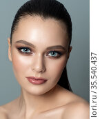 Portrait of young woman with beautiful makeup. Стоковое фото, фотограф Людмила Дутко / Фотобанк Лори