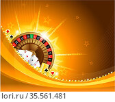 Golden casino background with roulette and playing cards EPS 10. Стоковое фото, фотограф Zoonar.com/Hugo Lacasse / easy Fotostock / Фотобанк Лори
