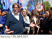 Photograph of Guy Verhofstadt at a anti-Brexit protest. Редакционное фото, агентство World History Archive / Фотобанк Лори